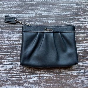 Black Coach Leather Black Wristlet Bag
